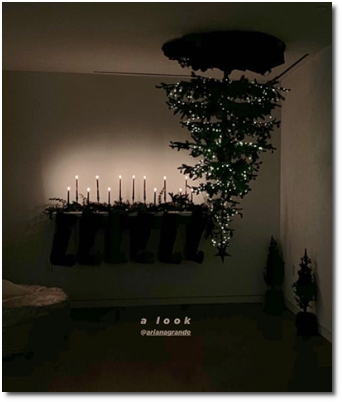 Ariana's upside-down Xmas tree