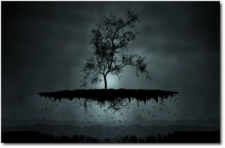 Floating Tree represents the illusion of material reality and fiat capital