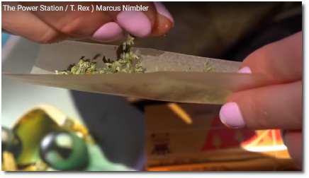 Girl with pink nails dropping cannabis into rolling paper