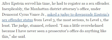 Manhattan DA's office under Cyrus Vance asked a judge to downgrade the Sex Offender status of Jeffrey Epstein says Michelle Goldberg (8 July 2019)