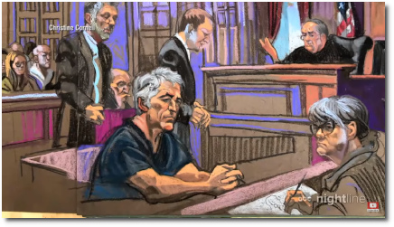 Artist sketch of convicted sex offender Jeffrey Epstein (66) wearing a blue jumpsuit in federal court, New York (8 July 2019)