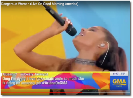Ariana singing Dangerous Women on GMA live in Central Park with mic held high (20 May 2016)