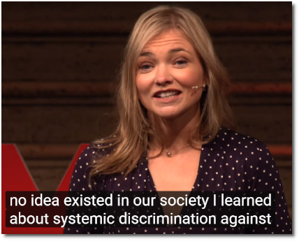 Laura Banks TEDx Stormont (Belfast) Making a stand against injustice and systemic discrimination (31 August 2019, video posted 9 Sept 2019)