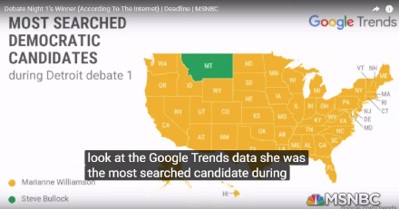 Marianne Williamson most searched candidate of first Democratic debate according to Google Trends (31 July 2019)