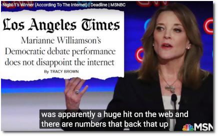 Marianne Williamson winner of first Democratic debate according to Google Trends (31 July 2019)