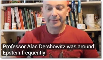 Shaun Attwood reads aloud the statement of Virginia Roberts Giuffre saying that Dershowitz hung out with Epstein frequently (7 Sept 2019)