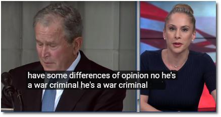 Ana Kasparian declares twice in a row that George W Bush is a War Criminal (8 Oct 2019)