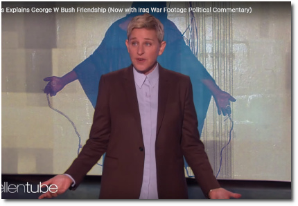 Ellen DeGeneres defending her friendship with George W Bush - now with images of torture set in the background as political commentary (9 Oct 2019)