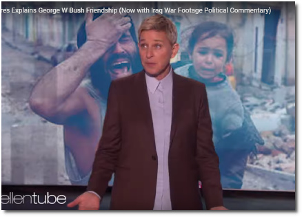 Ellen DeGeneres defending her friendship with George W Bush - now with images from Iraq war footage set in the background as political commentary (9 Oct 2019)