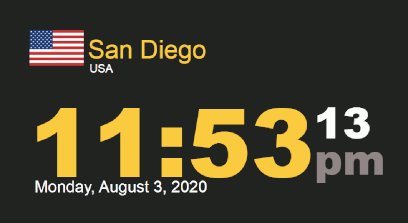 Timestamp Worldclock San Diego 3 August 2020 11:53 PM