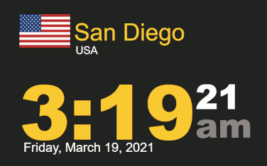 Timestamp Worldclock San Diego Friday, 19 March 2021 at 3:19 am