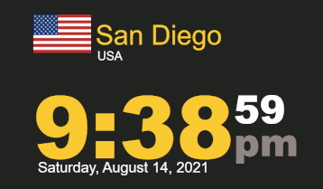 Worldclock timestamp for Saturday, 14 August 2021 at 9:38 PM San Diego