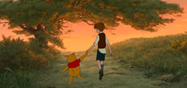 Pooh and Christopher Robin Walking together in the Hundred Acre Wood