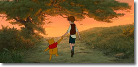 Pooh & Christopher Robin walk off into the sunset at the Hundred Acre Wood