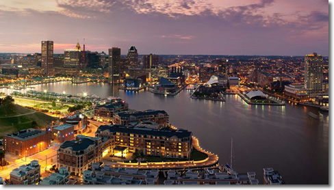 Inner Harbor Baltimore at dusk