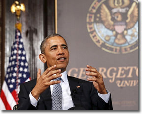 President Obama at Georgetown U. on May 12, 2015 for Catholic-Evangelical Leadership Summit about Poverty