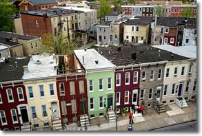 Arial shot of the blighted neighborhood in the Sandtown-Winchester section of Baltimore where Freddie Gray lived