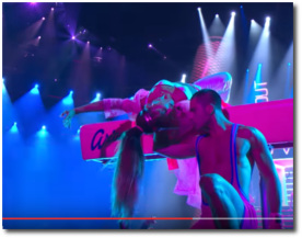 Ariana upsidedown on the pommel horse at the 2016 MTV VMAs at MSG in NYC August 28