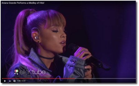 Ariana singing a medley on Ellen Sept 14, 2016