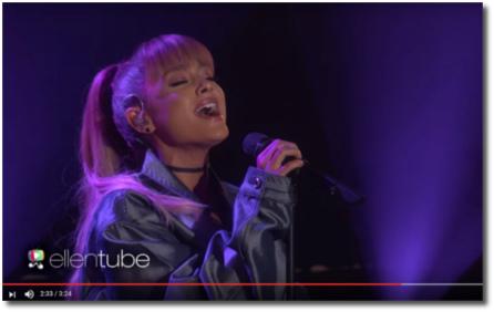 Ariana singing a medley on Ellen Sept 14, 2016