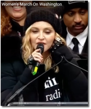 Madonna speaking at the Womens March on Washington Jan 21, 2017