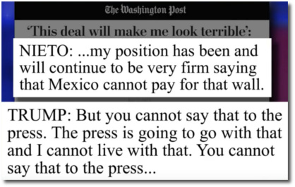 Trump begs Mexico's president to lie