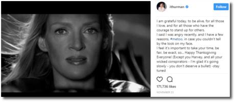 Uma Thurman is not happy with Harvey Weinstein