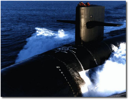Nuclear-powered submarine underway surfaced