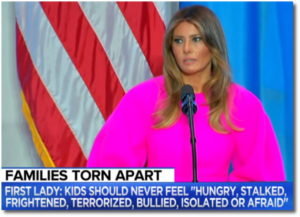 First lady Melania says that kids should never feel hungry, stalked, frightened, terrorized, bullied, isolated or afraid (20 Sept 2017, New York)