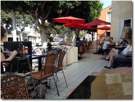 Outdoor patio at the Heidelberg Cafe & Bistro on PCH in south Laguna Beach