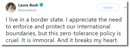 Twitter statement by Laura Bush regarding Trump's policy of separating refugee children from their parents (17 June 2018)