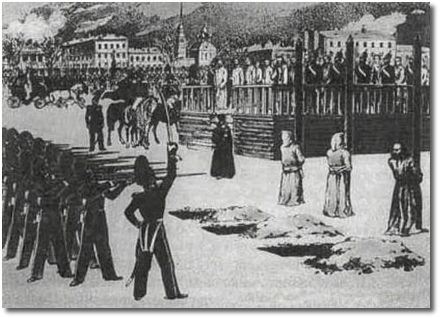 Sketch of scene at Dostoevsky's mock execution, Semyonov Place St Petersburg 23 Dec 1849