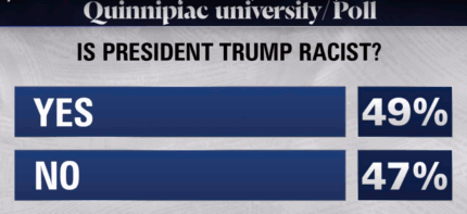 Quinnipiac poll says Trump is a racist (27 June - 1 July 2018)